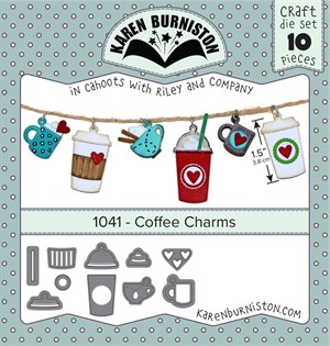 Coffee charms, dies, Karen Burniston.