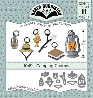 Camping charms, dies, Karen Burniston.