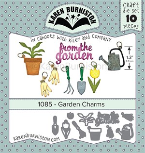 Garden charms, dies, Karen Burniston.