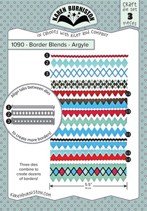 Border blends argyle, dies, Karen Burniston.