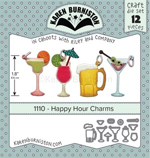 Happy hour charms, dies, Karen Burniston.