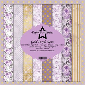 Gold purple roses, scrapbooking pakning, 8 ark, Paper favourites.