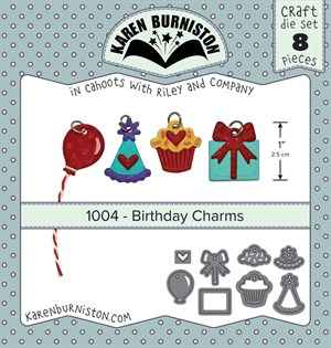 Birthday charms, dies, Karen Burniston.