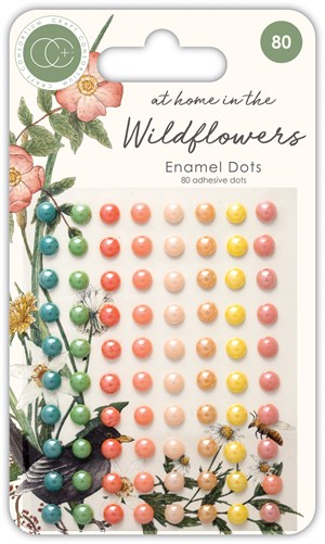 Enamel dots, Wildflowers, runde, 80 stk.