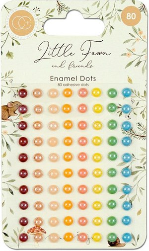 Enamel dots, Little fawn, runde, 80 stk.