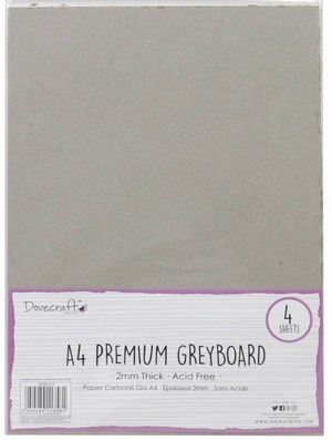 Greyboard karton 4 ark, 2 mm., A4.