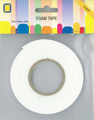 Foam tape rulle, 2,0 mm x 12 mm x 2 meter.