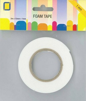 Foam tape rulle, 1,0 mm x 12 mm x 2 meter.