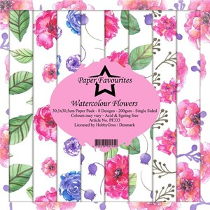 Watercoour flowers, scrapbooking pakning, 8 ark, Paper favourites.